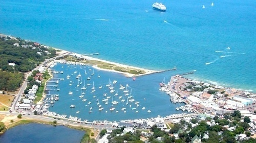 Aerial view of Oak Bluffs harbor