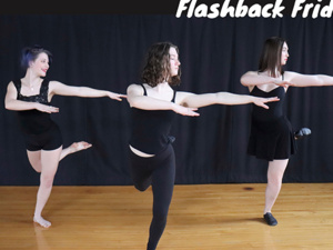 Poster for ViBE Dance Company: Flashback Friday. 3 dancers in ViBE Dance Company