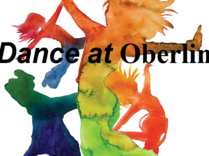 The Dance at Oberlin logo is displayed. It consists of an image of dancers done in bright water colors with the words Dance at Oberlin across it.
