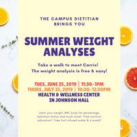 Summer Weight Analysis 6/25 11:30-1pm | Dining Services