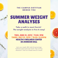 Summer Weight Analysis 7/25 10:30am-12:30pm | Dining Services