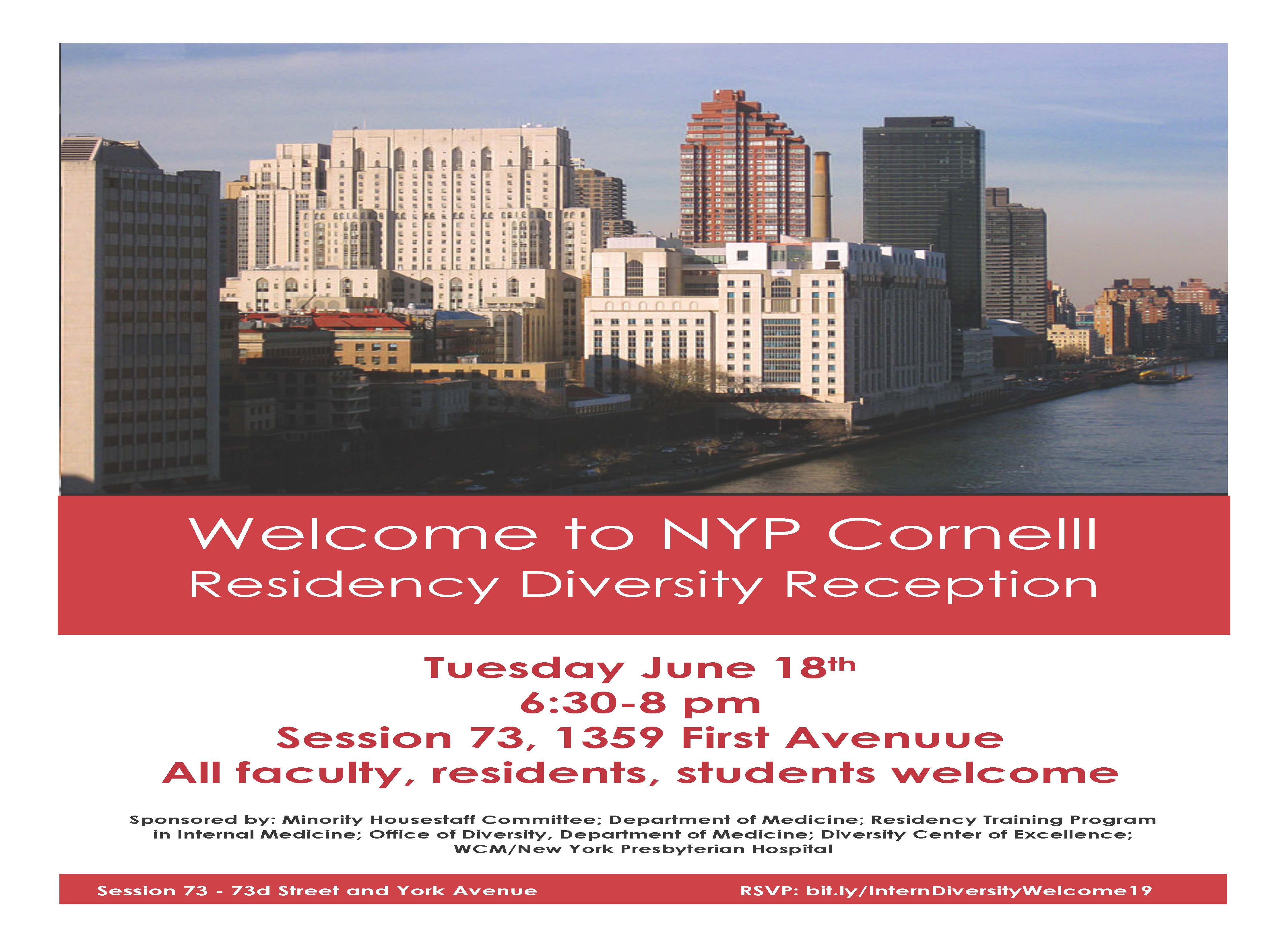 Welcome to NYP Cornell Residency Diversity Reception - Cornell
