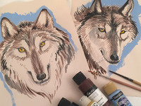 Crafting: Watercolor Wolf Portraits