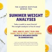 Summer Weight Analysis 6/25 - 11:30-1pm | Dining Services