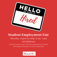 Student Employment Fair (formerly Part-Time Job Fair)