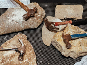 Hammers and rocks used during the performance of The Innocents