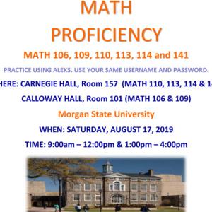 Mathematics Proficiency Exams (MTH 106, 109, 110, 113, 114, + 141)