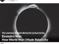 The Lawrence Badash Memorial Lecture Series: Einstein's War: How World War I Made Relativity
