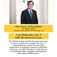 """Special Presentation: """"The Power of Possibility"""" by Sukhee Kang, former Mayor of Irvine, California"""