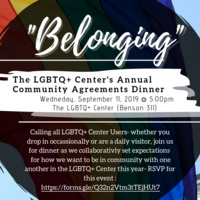 """Belonging"": The LGBTQ Center's Annual Community Agreements Dinner"