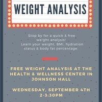 Weight Analysis 9/4 - 2-3:30pm | Dining Services