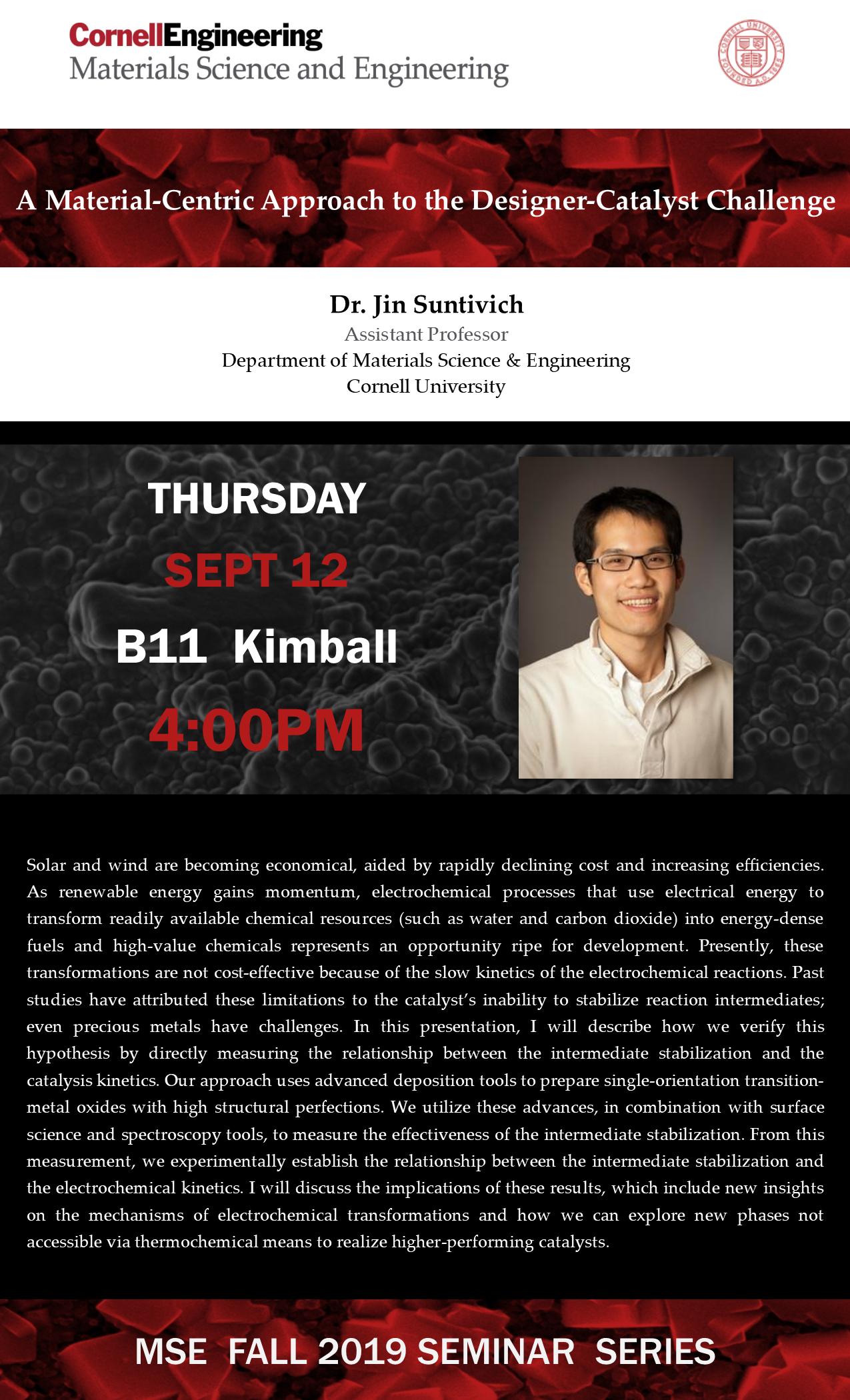 MSE Seminar: Jin Suntivich, Cornell University