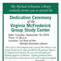 Dedication Ceremony of the Virginia McFrederick Group Study Center