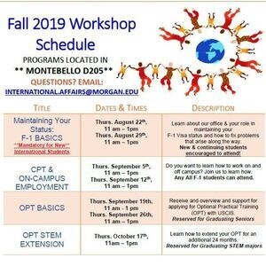 Fall 2019 International Student & Faculty Workshops: CPT & On-Campus Employment