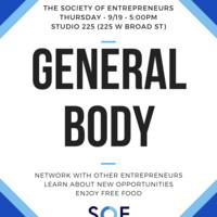 Society of Entrepreneurs: General Body Meeting