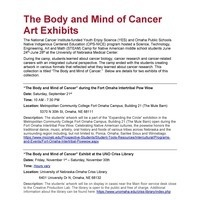 """""""The Body and Mind of Cancer"""" during the Fort Omaha Intertribal Pow Wow"""