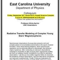 Physics Colloquium!- Professor Alicia Aarnio