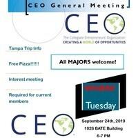 Collegiate Entrepreneurs' Organization (CEO) General Meeting & Tampa Trip/New Member Info Session