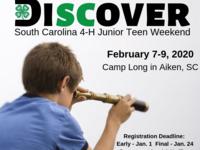 SC 4-H Junior Weekend Registration Open