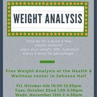 Weight Analysis Fri, Oct 4th 10:30-12:30pm   Dining Services