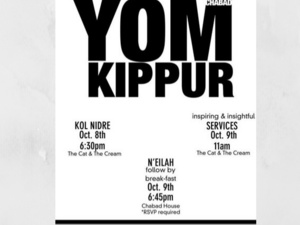 Flyer for Chabad Yom Kippur with details of events
