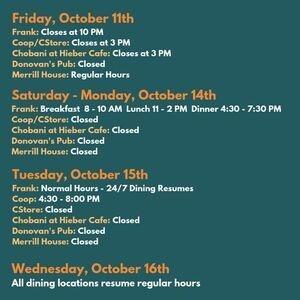 October Break Dining Hours