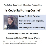 Is code-switching costly? Talk by Dr. Giuli Dussias (Penn State)