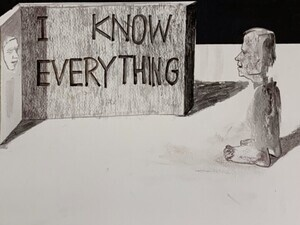 I've always known everything 2019 - Ink, gauche and powdered bullet shells on Paper - 13 x 17 inches