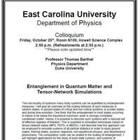 Physics Colloquium!- Professor Thomas Barthel