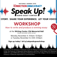 Tuesday, November 12th Workshop: Writing and Producing an Audio Essay