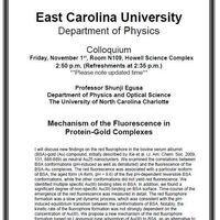 Physics Colloquium on November 1st!- Professor Shunji Egusa
