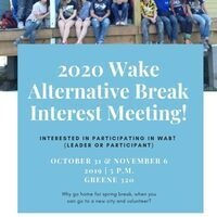 2020 Wake Alternative Break Interest Meeting
