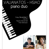 Guest Artist Series: Ching-Wen Hsiao and Konstantinos Valianatos, piano.
