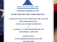 November is Veteran's Month at the Inn