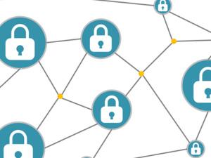 Web of padlocks representing Blockchain (illustration)