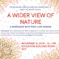 A Wider View Of Nature - A workshop with poet Lupez Mendez