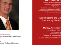 "Veterinary Economics and Management Candidate Seminar: Dr. Clinton Neill: ""Decomposing the Gender Wage Gap among Veterinarians"""