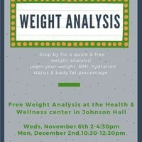 Weight Analysis Weds, Nov 6th 2-4:30pm