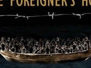 poster with a boat at sea filled with people on deck.