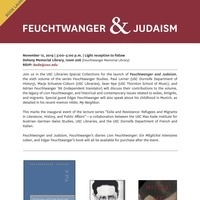 Feuchtwanger and Judaism (USC Max Kade Institute, USC Libraries, USC Department of French and Italian)