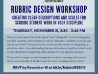Rubric Design Workshop: Creating Clear Descriptions and Scales for Scoring Student Work in Your Discipline