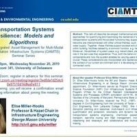 Seminar Speaker, Elise Miller-Hooks:  Transportation Systems Resilience:  Models and Algorithms