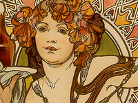 detail of a Mucha poster