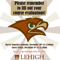 Students, help us help you - please complete your Course Evaluations for Fall 2019.
