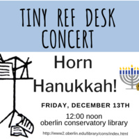 Tiny Ref Desk Poster with music stand and menorah. Dec. 13th 12 noon, Conservatory Library