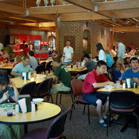 Students eating in Fountain Dining Hall.