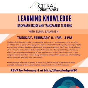 Learning Knowledge: Backward Design and Transparent Teaching