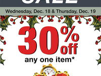 30 percent off one item at The Cornell Store Dec. 18 and 19