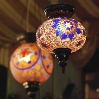 Hanging glass mosaic lanterns in Doha, Qatar