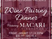 Cowfish Wine Pairing Dinner Featuring Macari Vineyards
